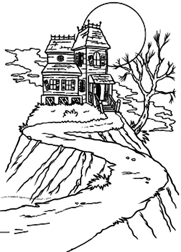 Haunted House, : Haunted House Up on the Hill Coloring Pages