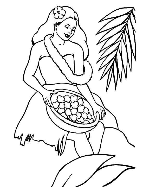 Hawaii, : Hawaii Girl Prepare to Welcome Tourist Coloring Pages