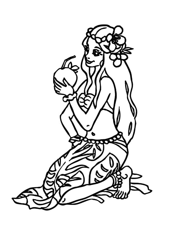 Hawaii, : Hawaii Princess Drink Coconut Water Coloring Pages