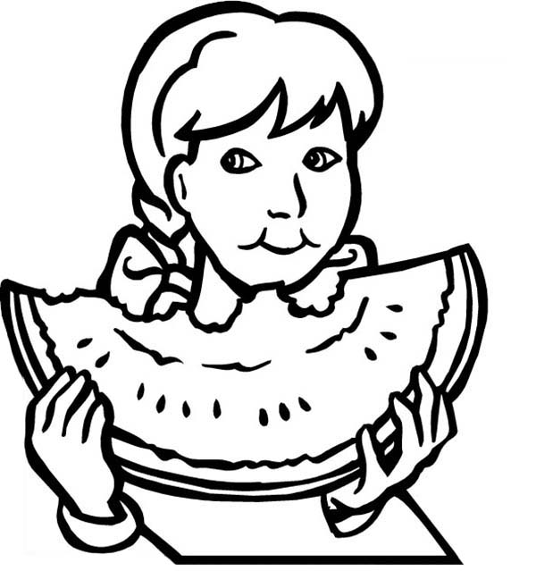 Healthy Eating, : Healthy Eating Big Watermelon Coloring Pages