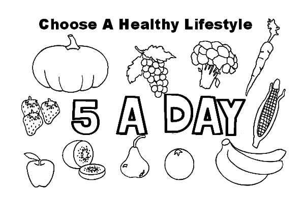 Healthy Eating, : Healthy Eating Lifestyle Coloring Pages