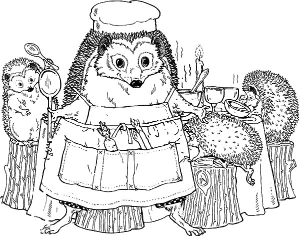 Hedgehog, : Hedgehog Family in the Dining Room Coloring Pages