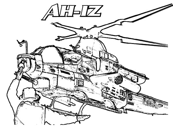 Helicopter, : Helicopter AH 1Z Coloring Pages