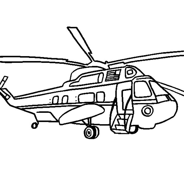 Helicopter, : Helicopter Marine One Presidential Coloring Pages