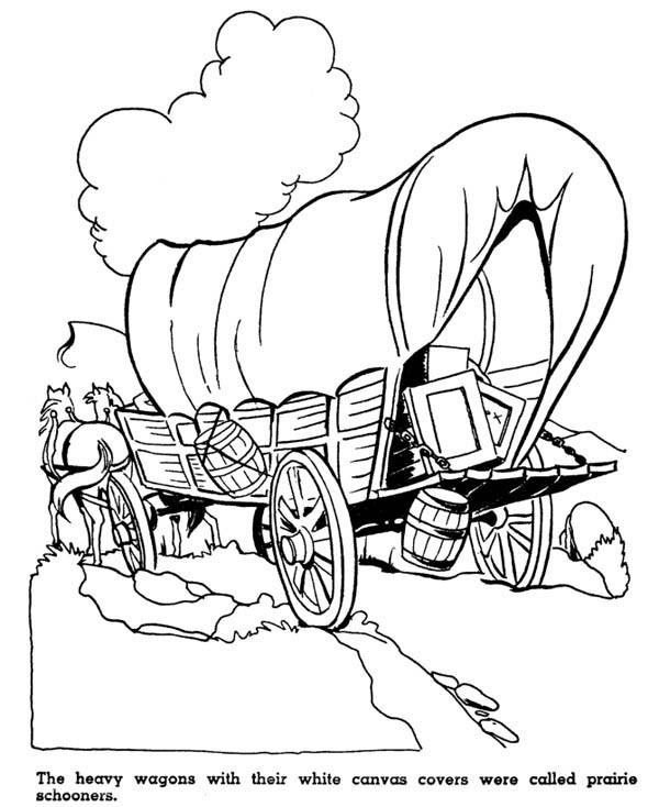 Home On The Prairie, : Home on the Prairie Heavy Wagon Coloring Pages