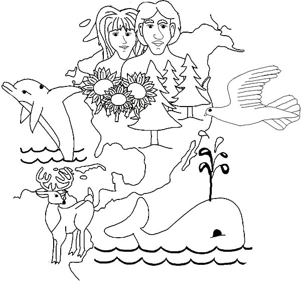 Gallery Of Days Creation Human And Animal In Coloring Pages With