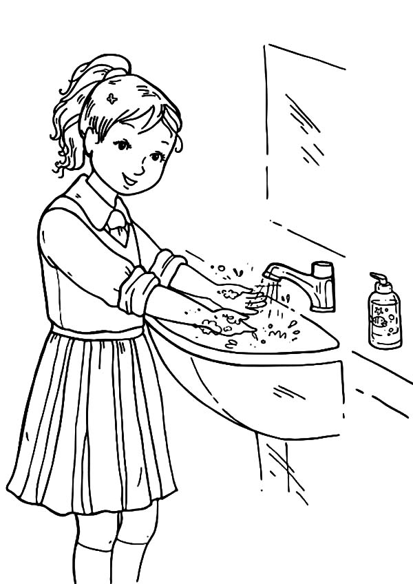 Hand Washing, : Keep Healthy with Hand Washing Coloring Pages