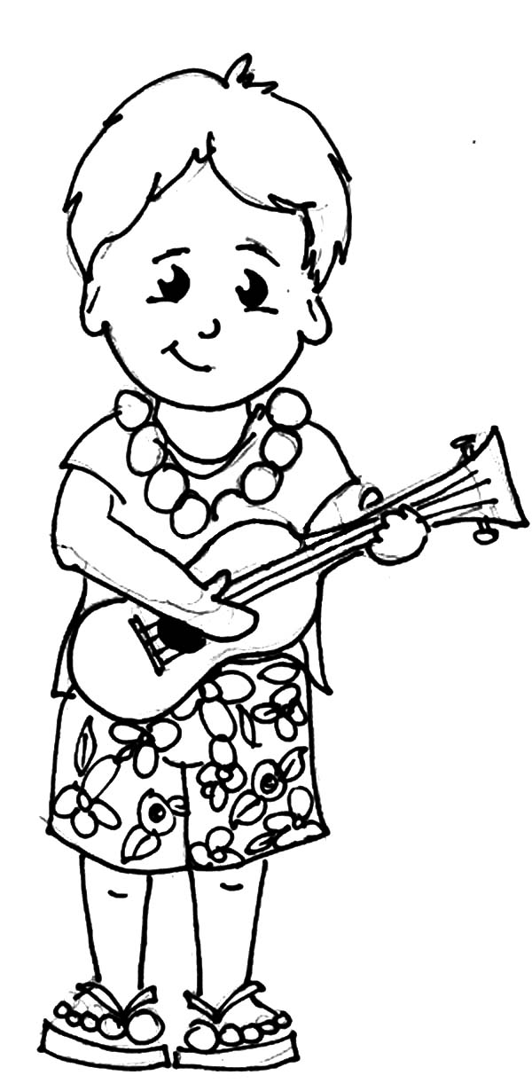 Kid form Hawaii Playing Ukulele Coloring Pages | Coloring Sun