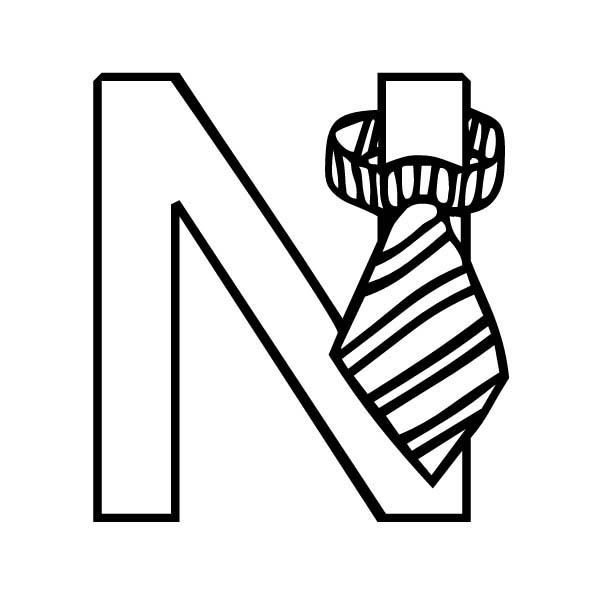 Letter n, : Kindergarten Kids Learn Letter N Coloring Page
