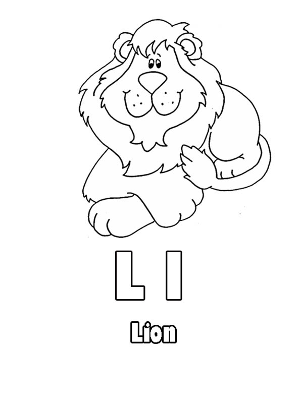 Letter l, : Kindergarten Kids Learning Letter L for Lion Coloring Page