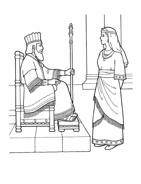 King Nebuchadnezzar, : King Nebuchadnezzar and Queen Coloring Page