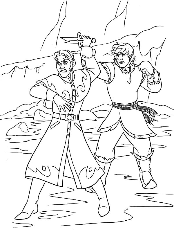 Hans, : Kristoff Stopped Prince Hans from Throwing a Broken Sword Coloring Pages