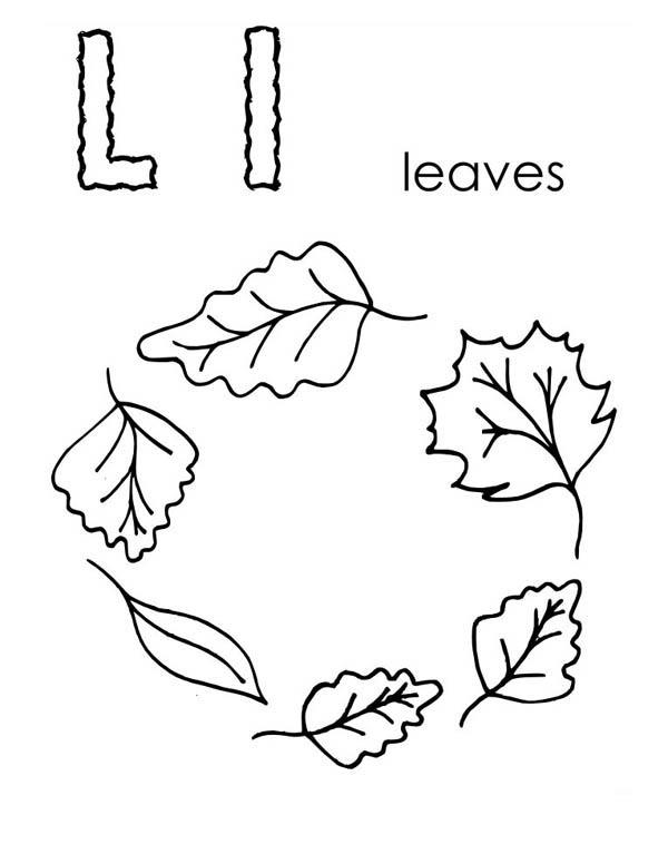 Letter l, : Leaf is for Letter L Coloring Page
