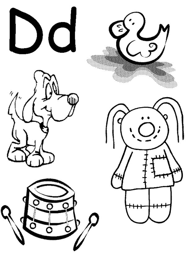Learn Alphabet Letter D Coloring Page Coloring Sun