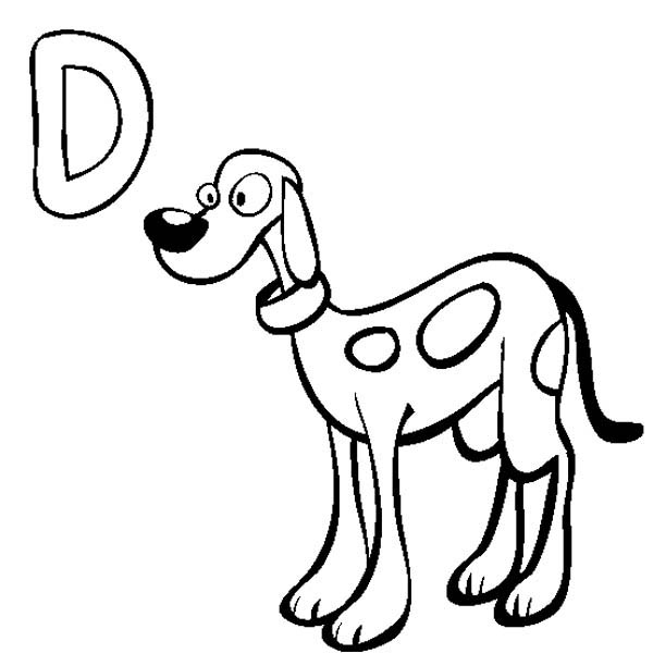 Letter D, : Learn Letter D is for Dog Coloring Page