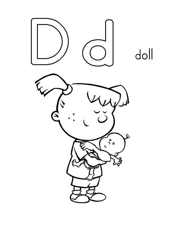 Letter D, : Learn Letter D is for Doll Coloring Page