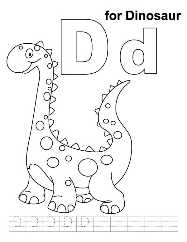 Letter D, : Learning Letter D is for Dinosaurus Coloring Page