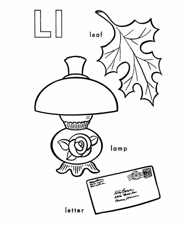 Letter l, : Letter L Words Coloring Page
