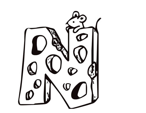 Letter n, : Letter N Cheese Coloring Page