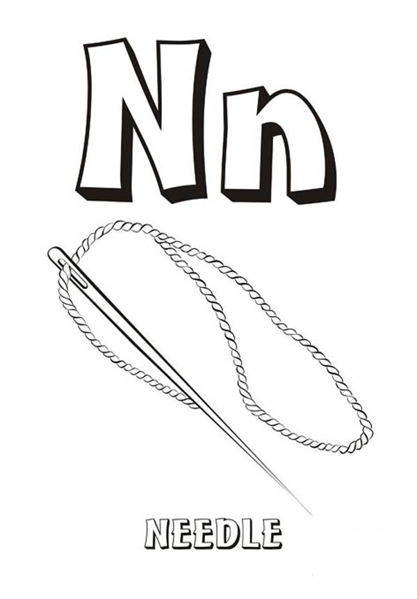 Letter n, : Letter N is for Needle Coloring Page