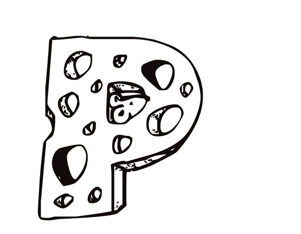 Letter p, : Letter P from Cheese Coloring Page