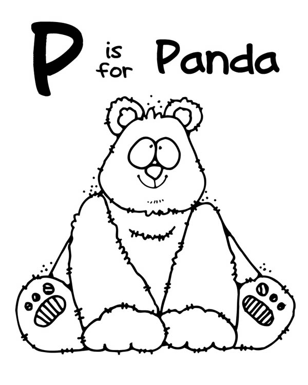 Letter p, : Letter P is for Panda Coloring Page
