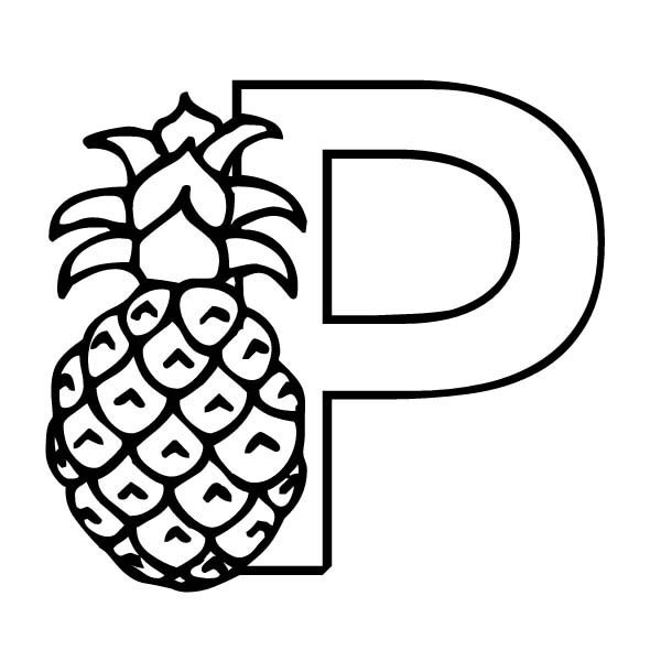Letter p, : Letter P is for Pineapple Coloring Page