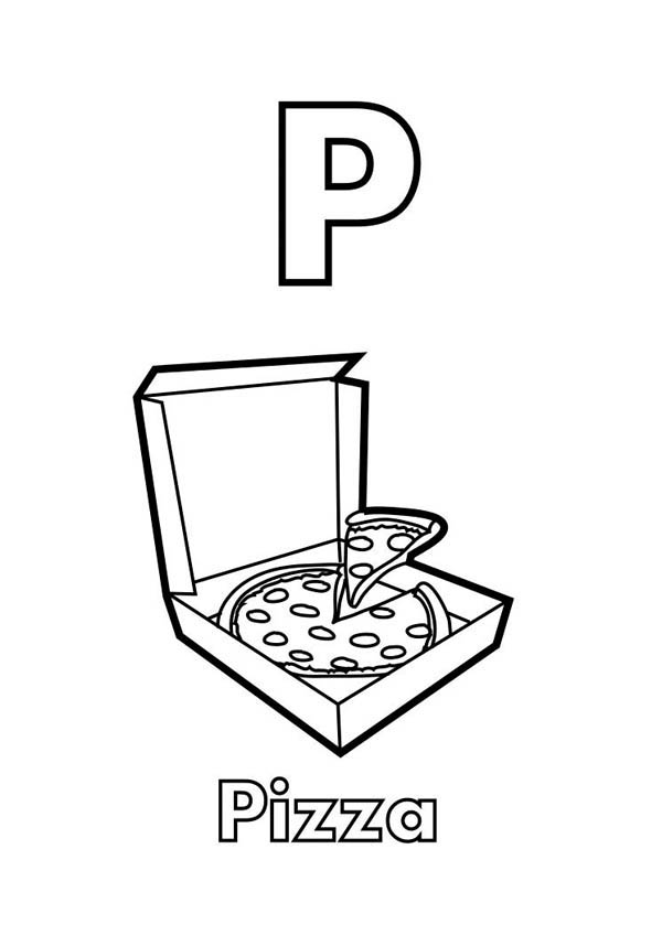 Letter p, : Letter P is for Pizza Coloring Page