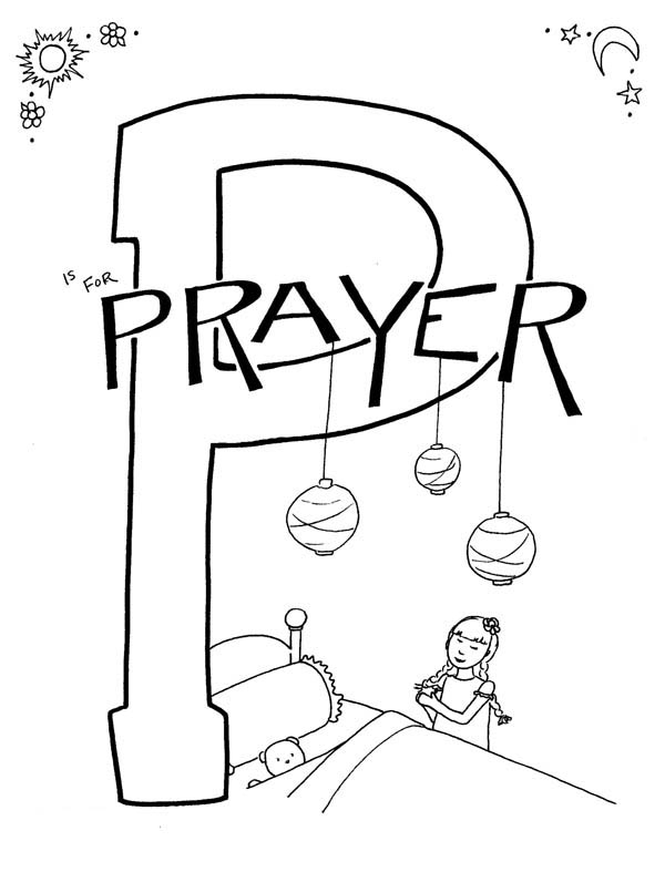 Letter p, : Letter P is for Prayer Coloring Page