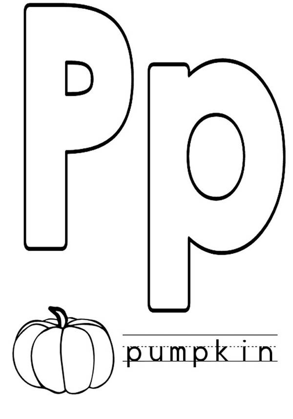 letter p is for pumpkin coloring page