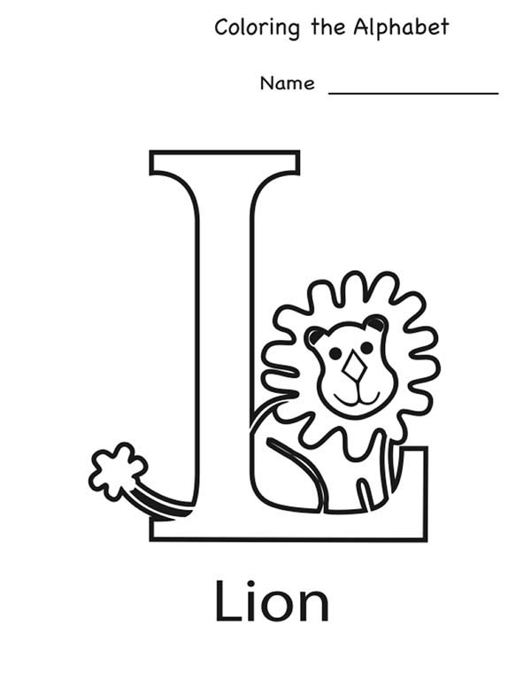 Letter l, : Lion for Letter L Coloring Page