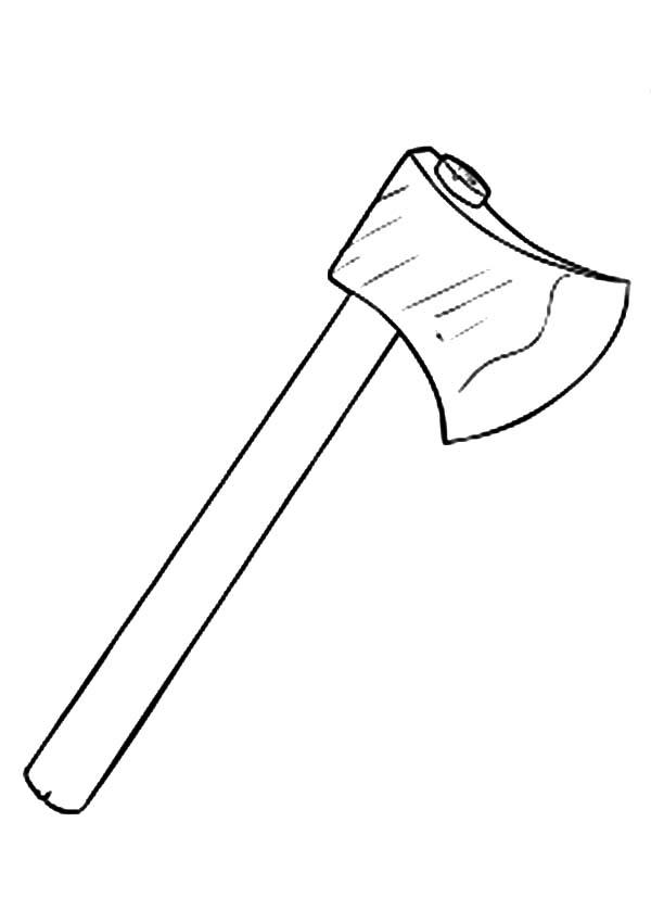 hatchet, : Long Handle Hatchet Coloring Pages