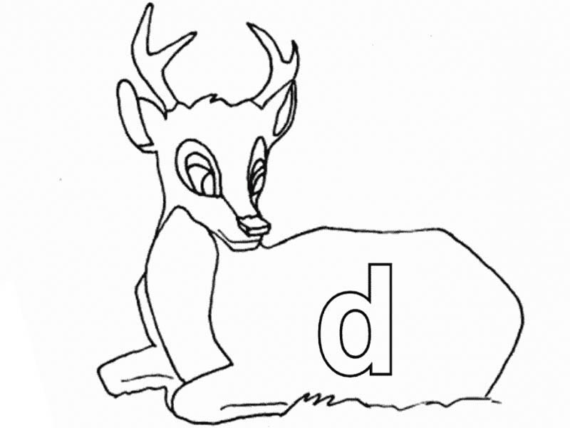 Letter D, : Lower Case Letter D for Deer Coloring Page