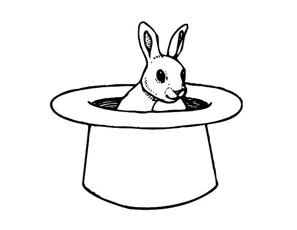 Hat, : Magician Hat Coloring Pages