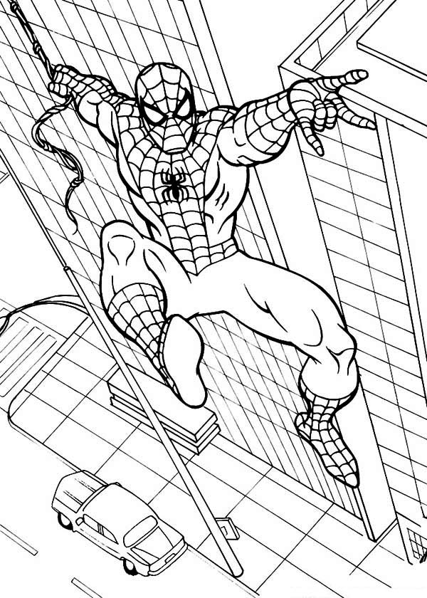Spiderman, : Marvel Superhero Spiderman Coloring Page