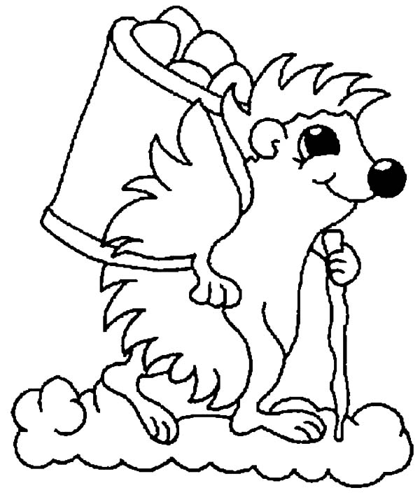 Hedgehog, : Master Hedgehog Riding Clouds Collecting Acorn Coloring Pages