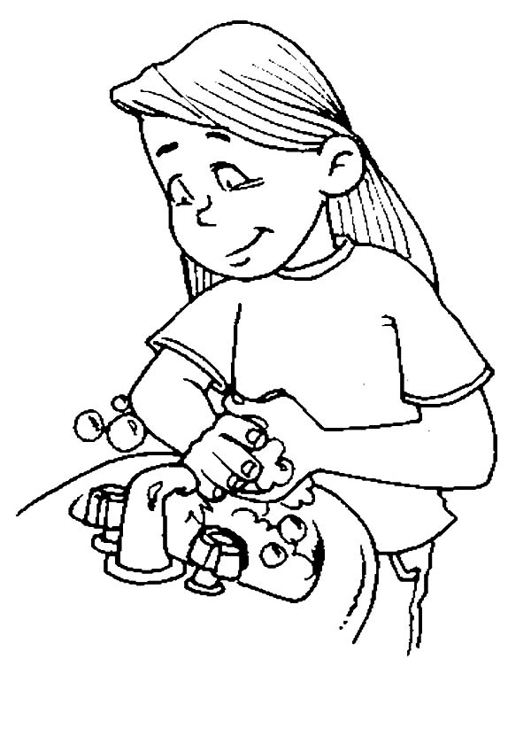 Hand Washing, : My Sister Washing Her Hand Coloring Pages