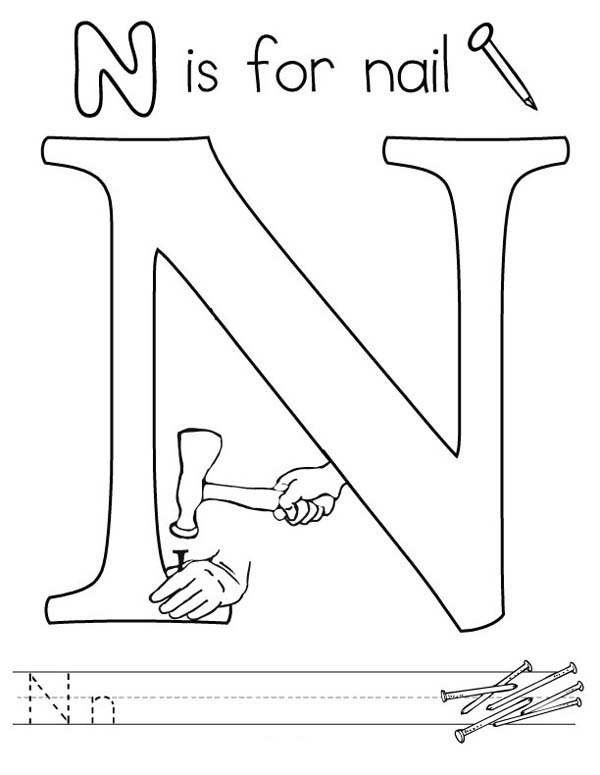Letter n, : Nail from Letter N Coloring Page