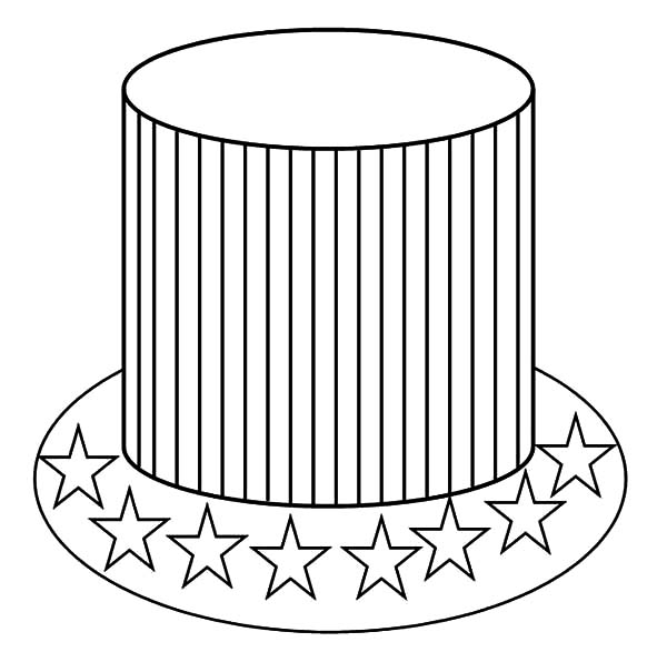 Hat, : Patriotic American Hat Coloring Pages