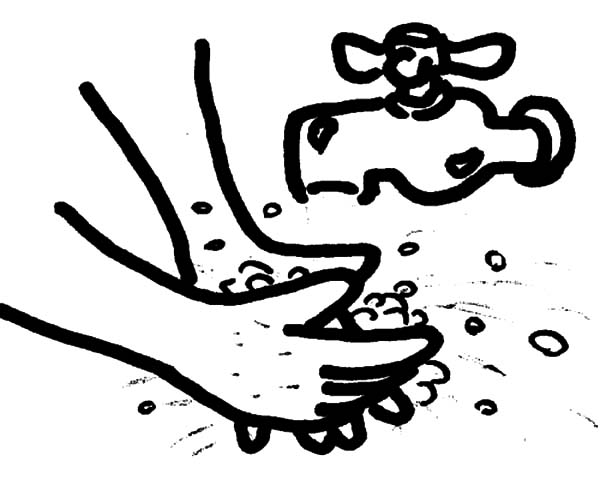 Hand Washing, : Picture of Hand Washing Coloring Pages