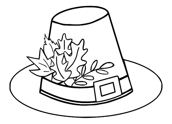 Hat Pilgrim With Autumn Leaves Coloring Pages