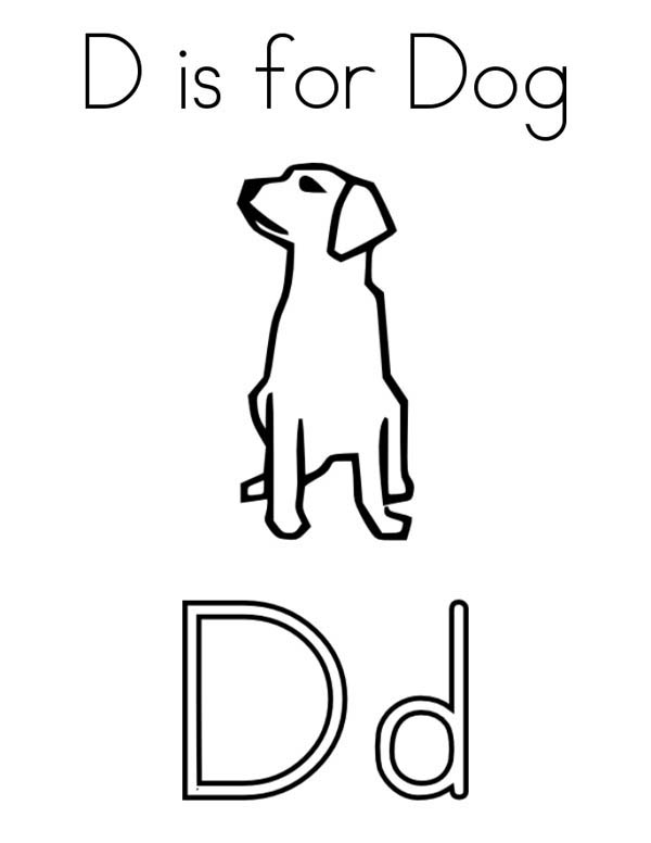 Letter D, : Preschool Kids Learn Letter D for Dog Coloring Page