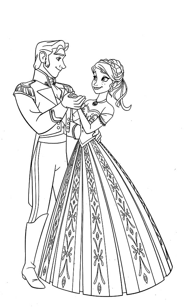 Hans, : Prince Hans Dance with Princess Anna Coloring Pages