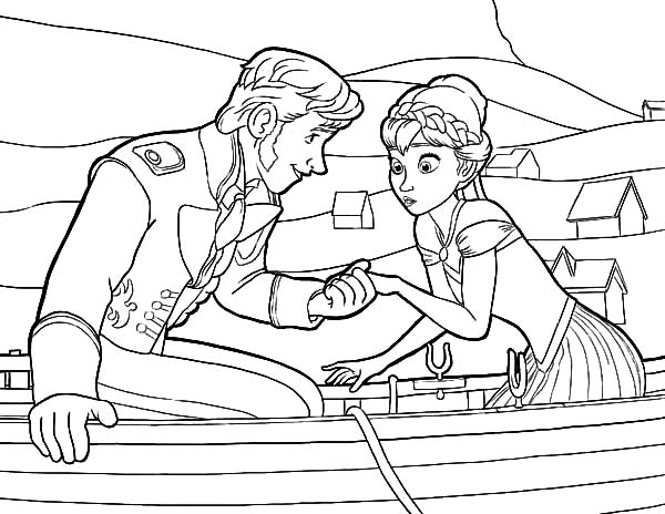Hans, : Prince Hans Hold Princess Anna's Hand Coloring Pages
