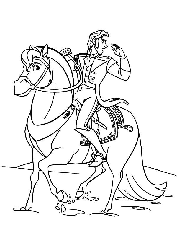 Hans, : Prince Hans Ride His Horse Coloring Pages