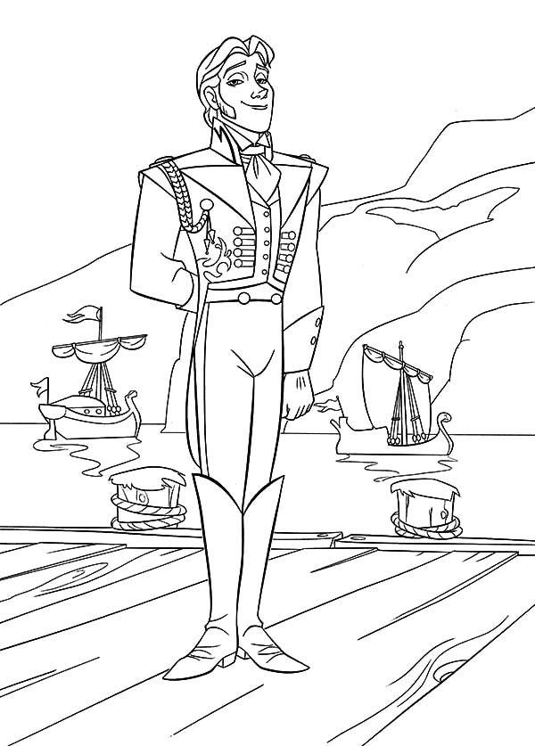 Hans, : Prince Hans Standing on Dock Coloring Pages