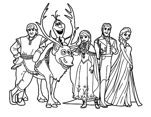 Hans, : Prince Hans and Other Frozen Characters Coloring Pages
