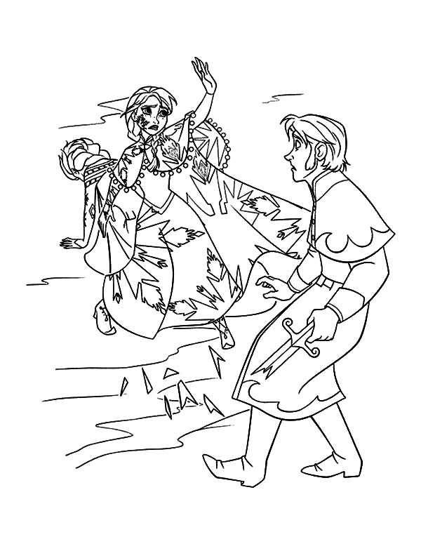 Hans, : Princess Anna Protect Her Sister from Prince Hans Attack Coloring Pages