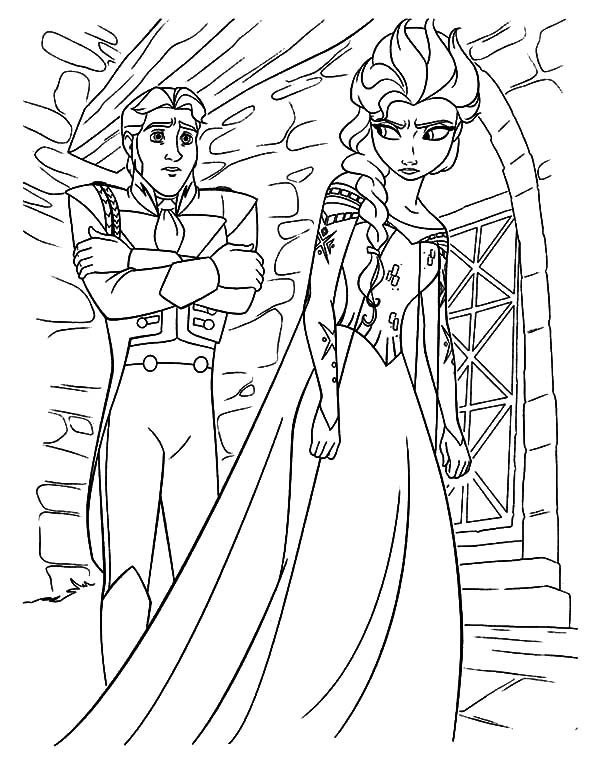 queen elsa is mad to prince hans coloring pages - Queen Elsa Coloring Page