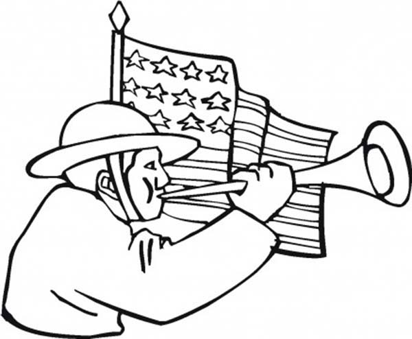 Remembrance Day, : Remembrance Day Blowing Horn Coloring Pages